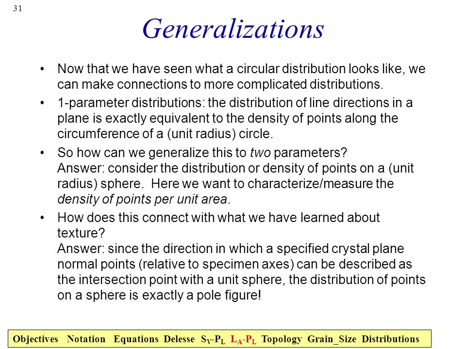 31 Generalizations Now that we have seen what a circular distribution looks like, we can make connections to more complicated distributions.