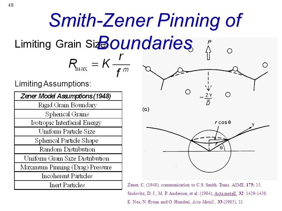 48 Limiting Assumptions: Limiting Grain Size: Zener, C. (1948). communication to C.S. Smith. Trans. AIME. 175: 15. Srolovitz, D. J., M. P. Anderson, e