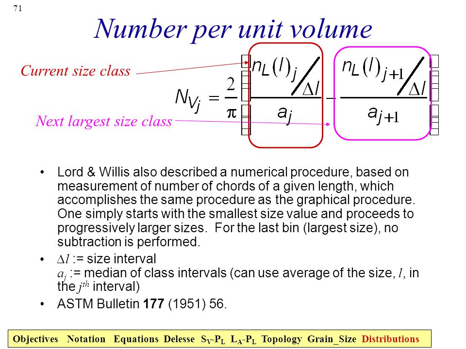 71 Number per unit volume Lord & Willis also described a numerical procedure, based on measurement of number of chords of a given length, which accomplishes the same procedure as the graphical procedure.