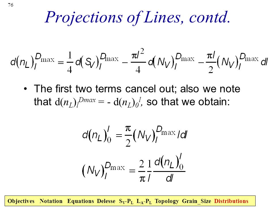 76 Projections of Lines, contd.