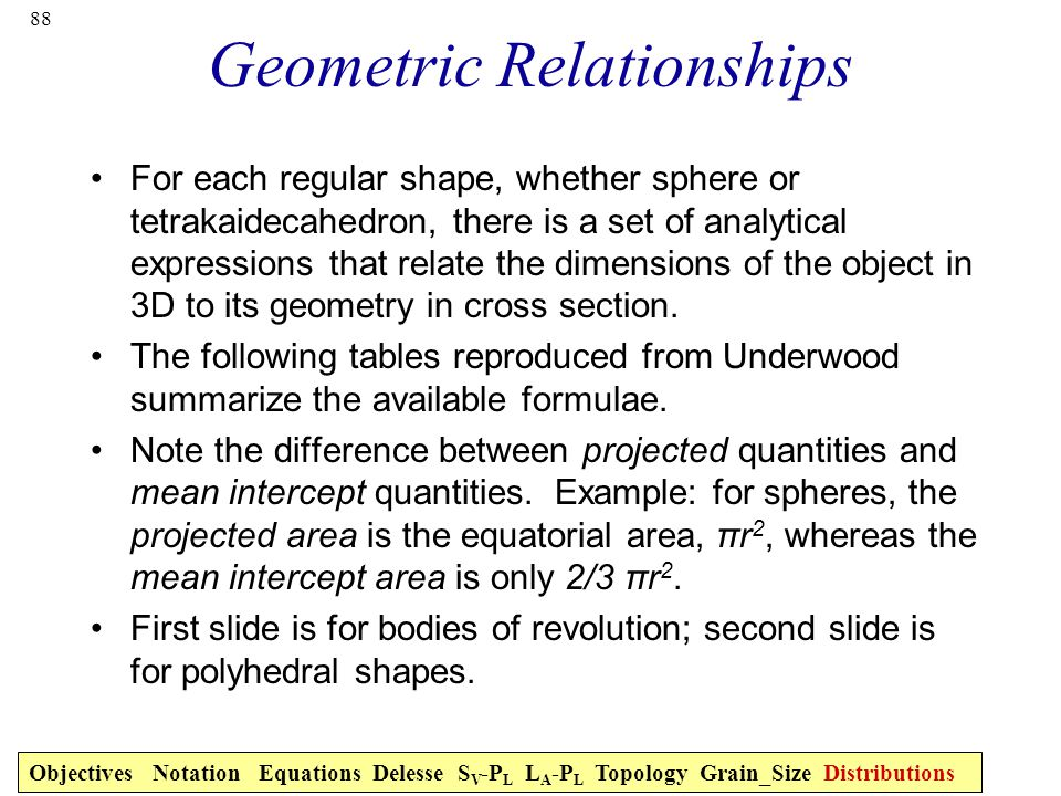 88 Geometric Relationships For each regular shape, whether sphere or tetrakaidecahedron, there is a set of analytical expressions that relate the dimensions of the object in 3D to its geometry in cross section.