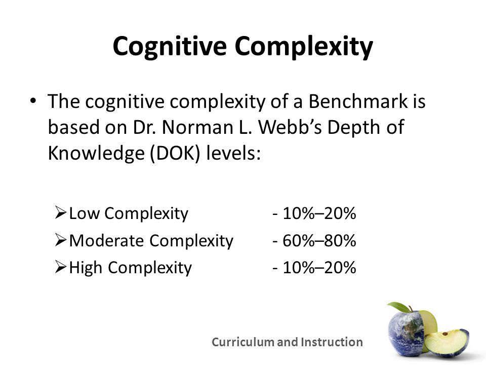 Curriculum and Instruction Cognitive Complexity The cognitive complexity of a Benchmark is based on Dr. Norman L. Webb's Depth of Knowledge (DOK) leve