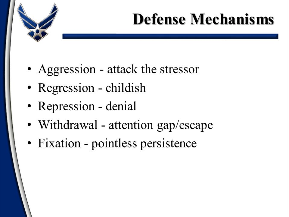 Aggression - attack the stressor Regression - childish Repression - denial Withdrawal - attention gap/escape Fixation - pointless persistence Defense Mechanisms