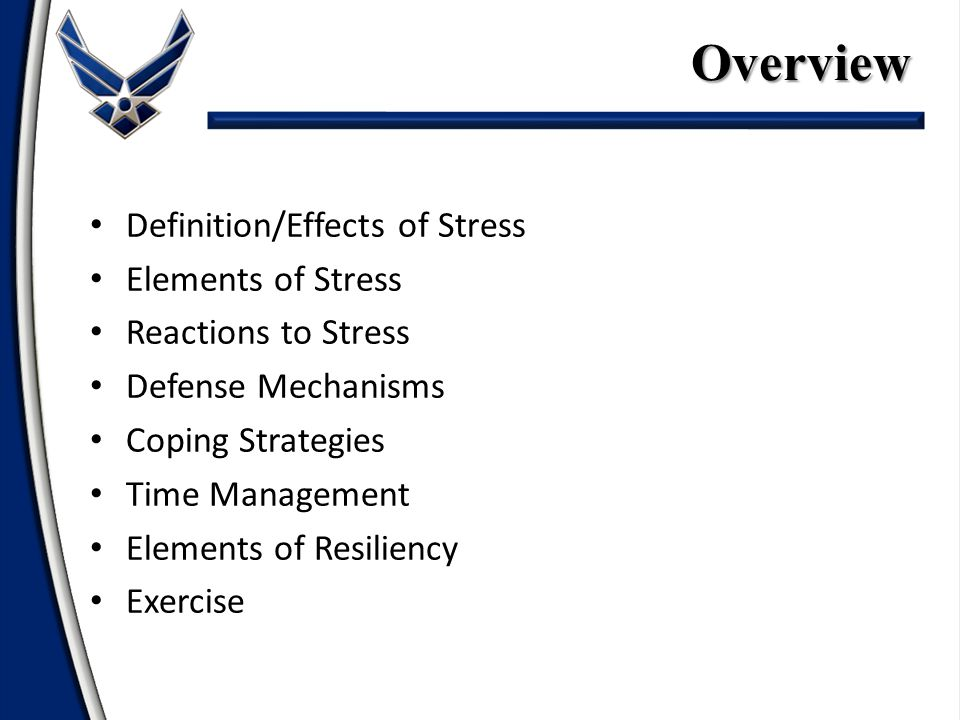 Definition/Effects of Stress Elements of Stress Reactions to Stress Defense Mechanisms Coping Strategies Time Management Elements of Resiliency ExerciseOverview