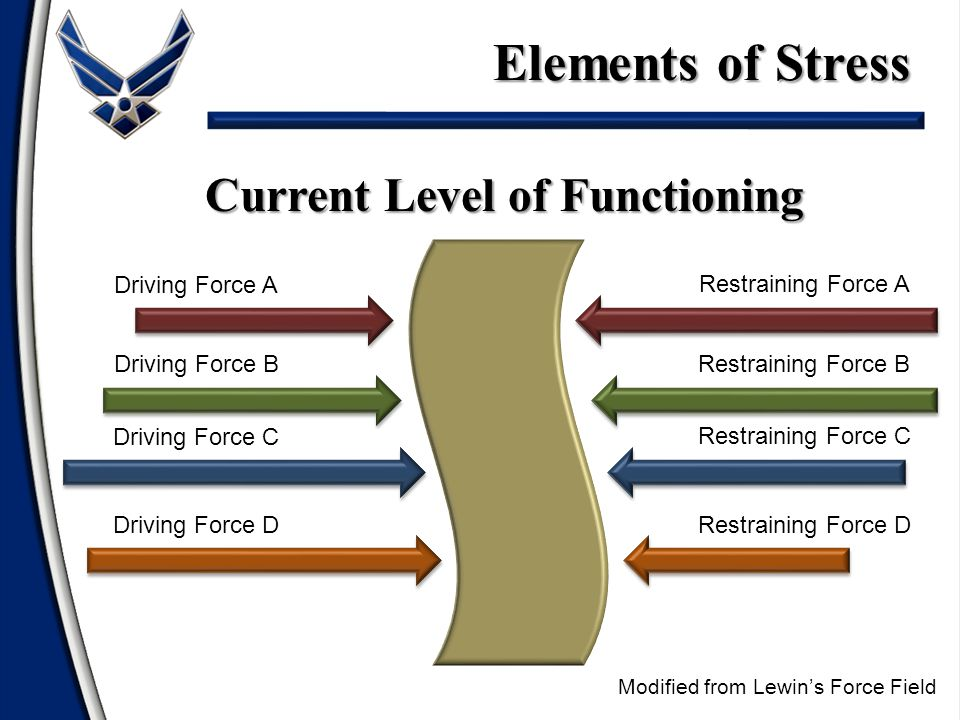 Driving Forces (Stressors) – Time: too much in too little time – Encounters: interpersonal issues – Situation: long hours/changes – Anticipatory: expected tense climate Elements of Stress