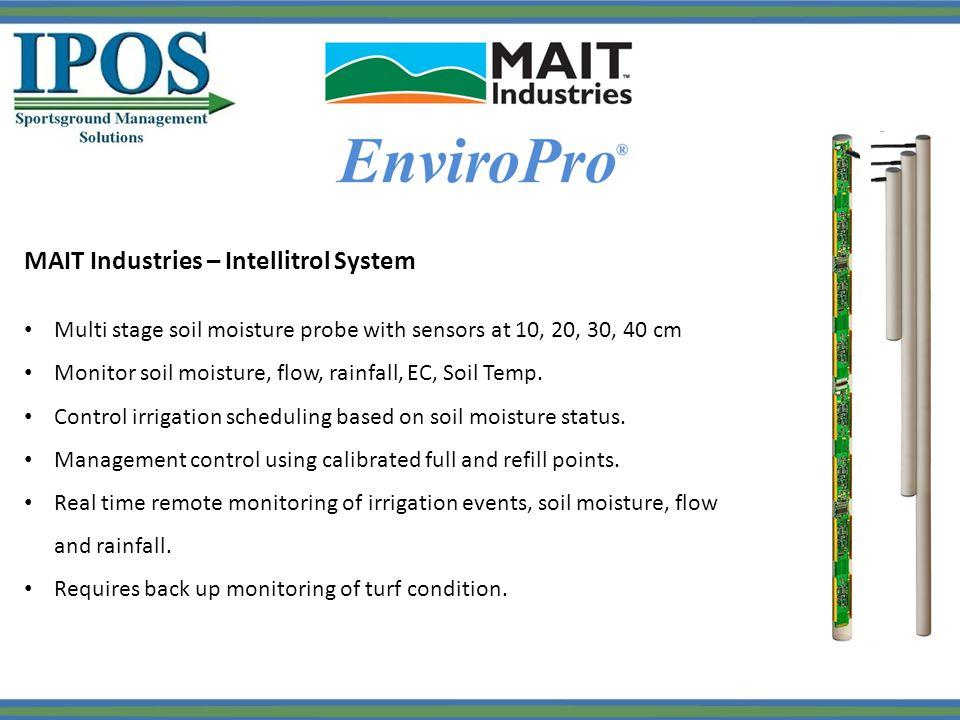 MAIT Industries – Intellitrol System Multi stage soil moisture probe with sensors at 10, 20, 30, 40 cm Monitor soil moisture, flow, rainfall, EC, Soil Temp.