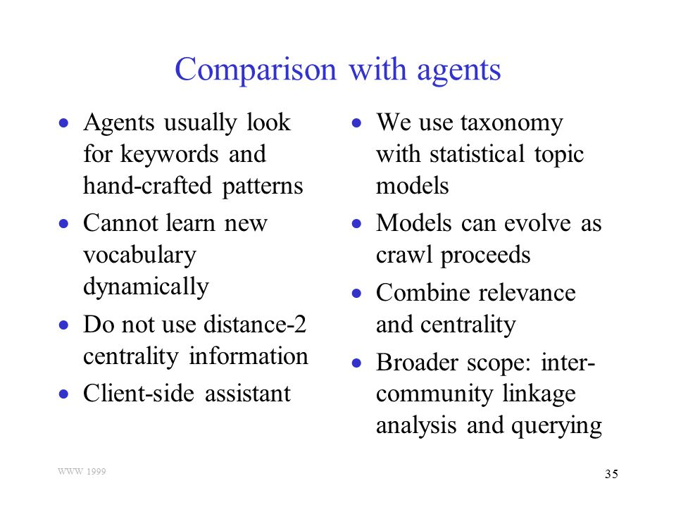 WWW 1999 35 Comparison with agents  Agents usually look for keywords and hand-crafted patterns  Cannot learn new vocabulary dynamically  Do not use
