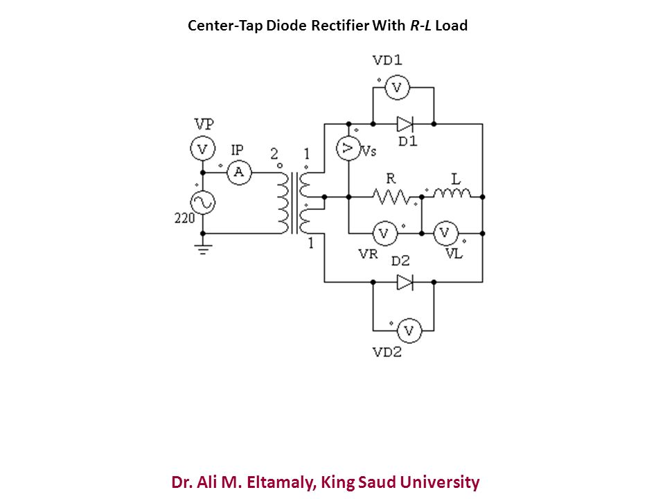 Dr. Ali M. Eltamaly, King Saud University Center-Tap Diode Rectifier With R-L Load