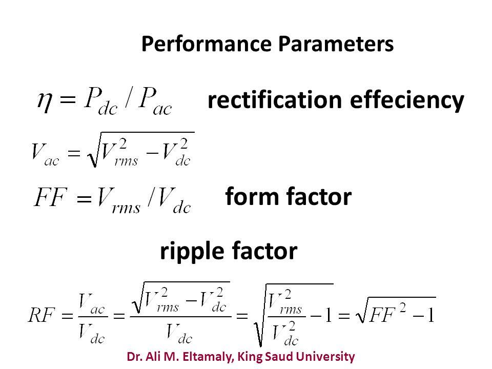 Dr. Ali M. Eltamaly, King Saud University Performance Parameters rectification effeciency form factor ripple factor
