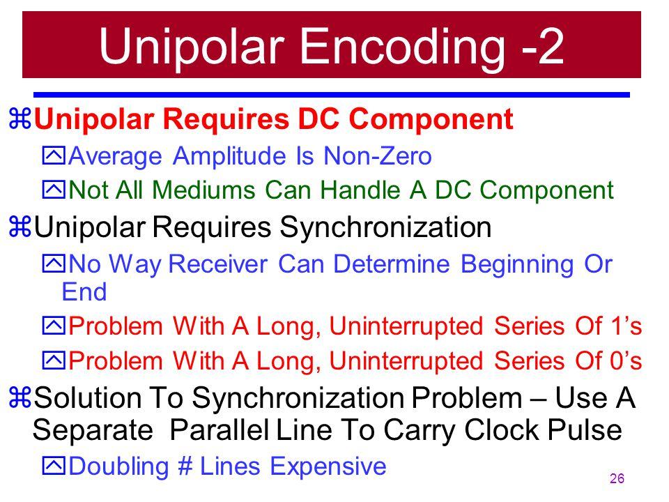 25 zUnipolar – Very Simple & Very Primitive Encoding Scheme (almost obsolete) yUnipolar – Only one polarity. zSending Voltage Pulses along a medium li