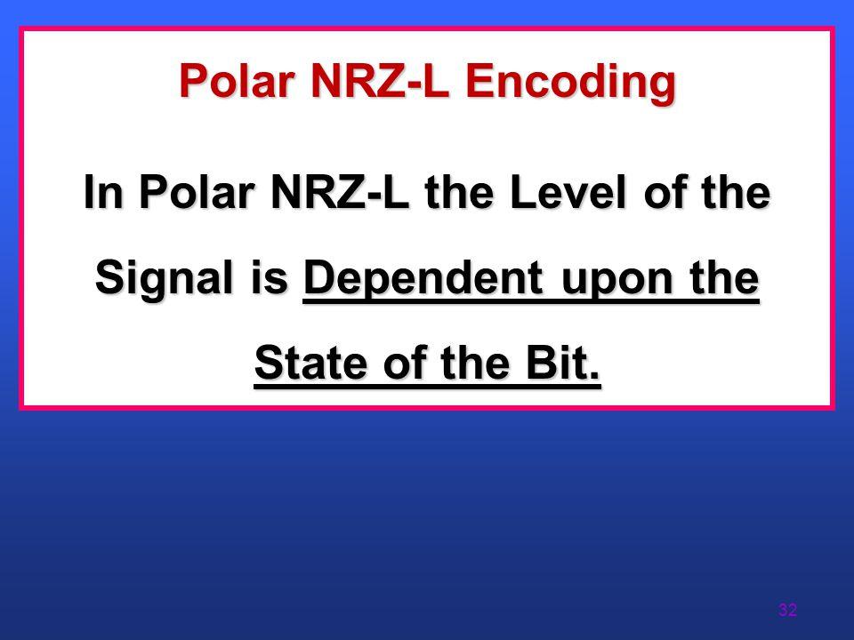 31 NRZ-L Encoding (Polar)