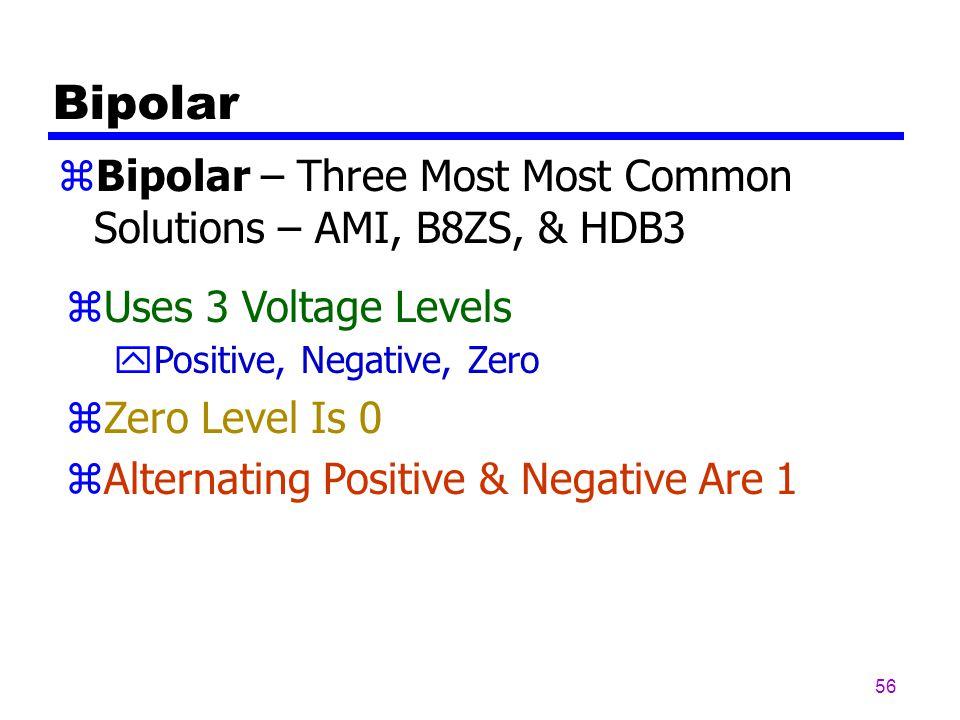 55 In Bipolar Encoding, we use Three Levels: positive, zero, and negative.