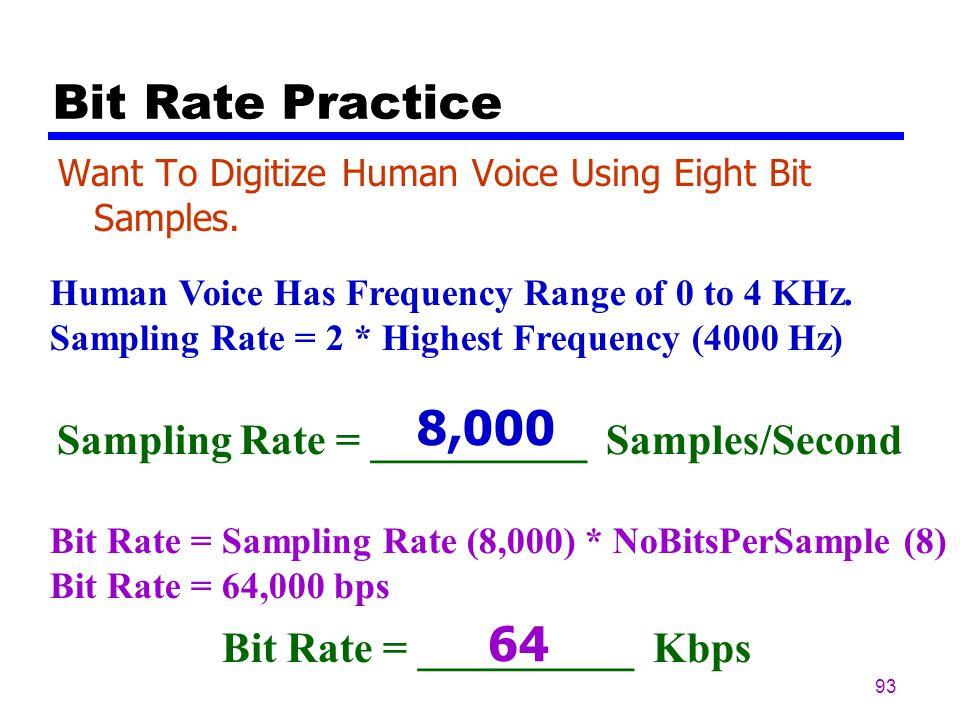 92 Bit Rate Bit Rate = Sampling Rate x Number Bits Per Sample Bit Rate : Also Called The Data Rate
