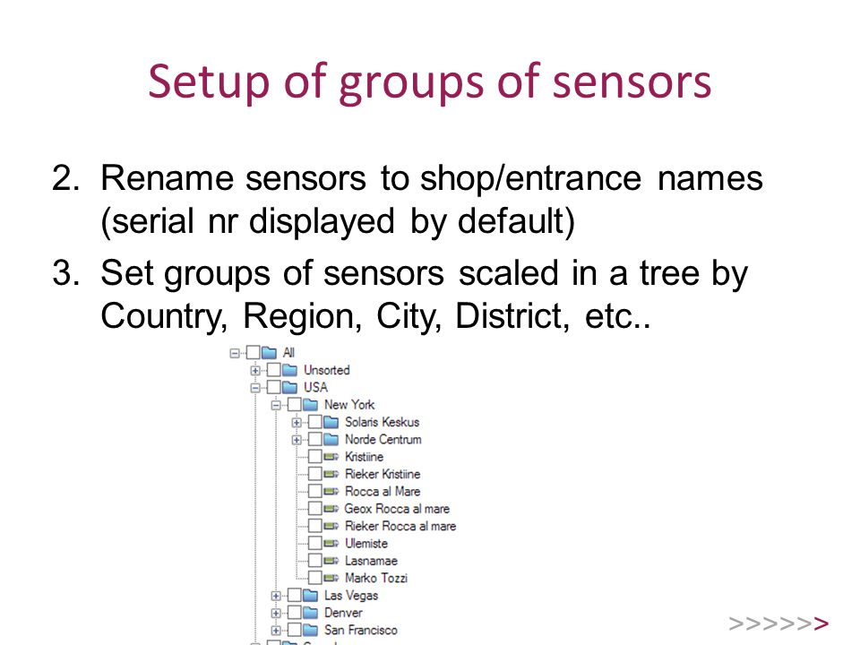 Setup of groups of sensors 2.Rename sensors to shop/entrance names (serial nr displayed by default) 3.Set groups of sensors scaled in a tree by Country, Region, City, District, etc..