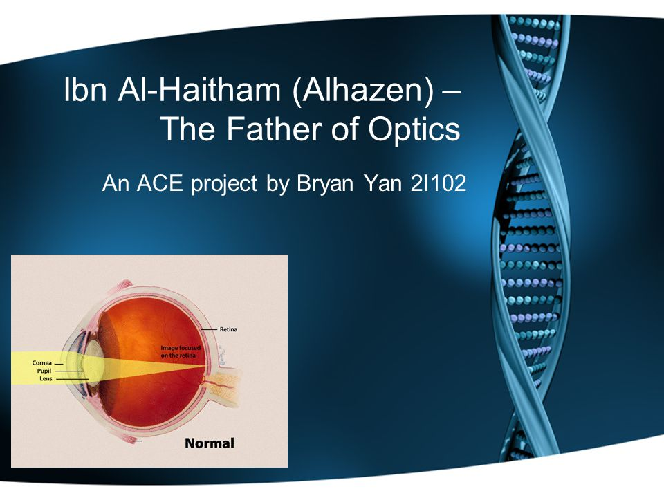 Ibn Al-Haitham (Alhazen) – The Father of Optics An ACE project by Bryan Yan 2I102