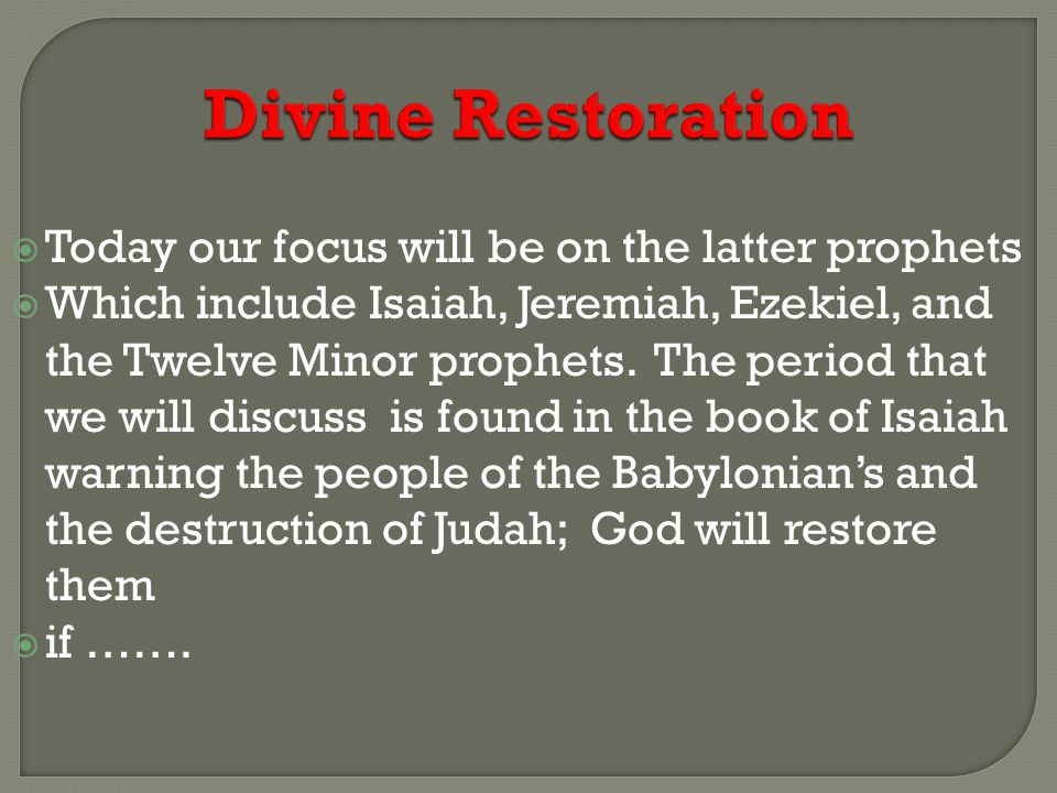 Divine Restoration  A further description of that terrible desolation which should be made in the land of Judah by the locusts and caterpillars, Joel 2:1-11.