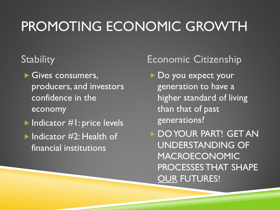 PROMOTING ECONOMIC GROWTH EmploymentGrowth  unemployment rate between 4% and 6% desirable  each generation should do better  measured by GDP