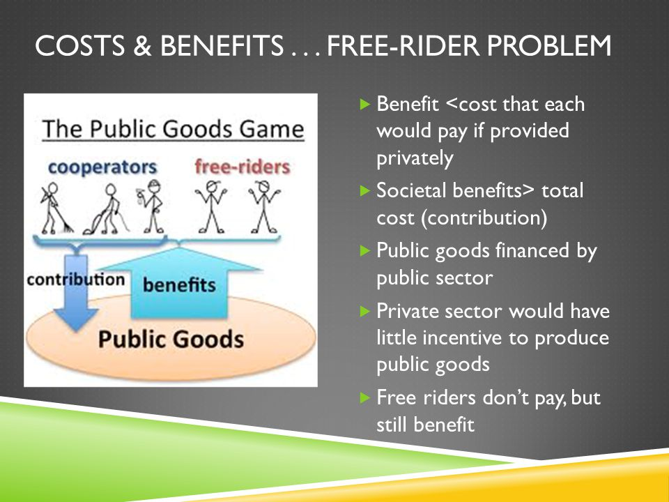PROVIDING PUBLIC GOODS  A shared good or service for which it would be inefficient or impractical (1) to make consumers pay individually and (2) to exclude nonpayers