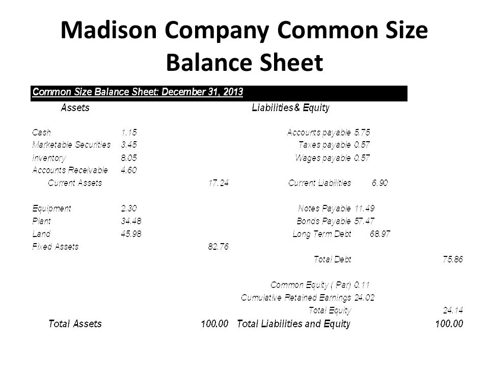 Madison Company Common Size Balance Sheet