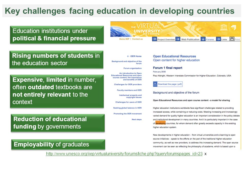 Rising numbers of students in the education sector Education institutions under political & financial pressure Expensive, limited in number, often outdated textbooks are not entirely relevant to the context Employability of graduates Reduction of educational funding by governments Key challenges facing education in developing countries http://www.unesco.org/iiep/virtualuniversity/forumsfiche.php?queryforumspages_id=23http://www.unesco.org/iiep/virtualuniversity/forumsfiche.php?queryforumspages_id=23 x
