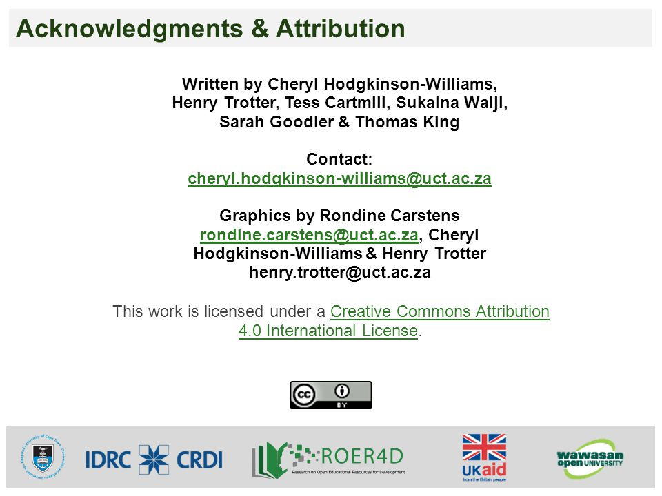 Acknowledgments & Attribution This work is licensed under a Creative Commons Attribution 4.0 International License.Creative Commons Attribution 4.0 In