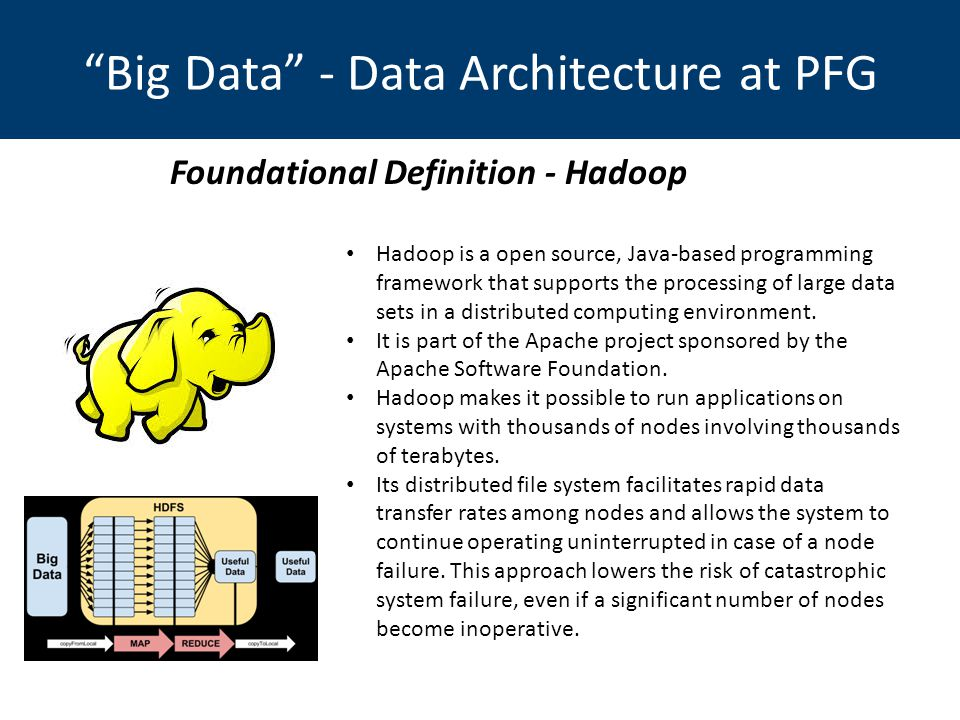 Big Data - Data Architecture at PFG Hadoop is a open source, Java-based programming framework that supports the processing of large data sets in a distributed computing environment.