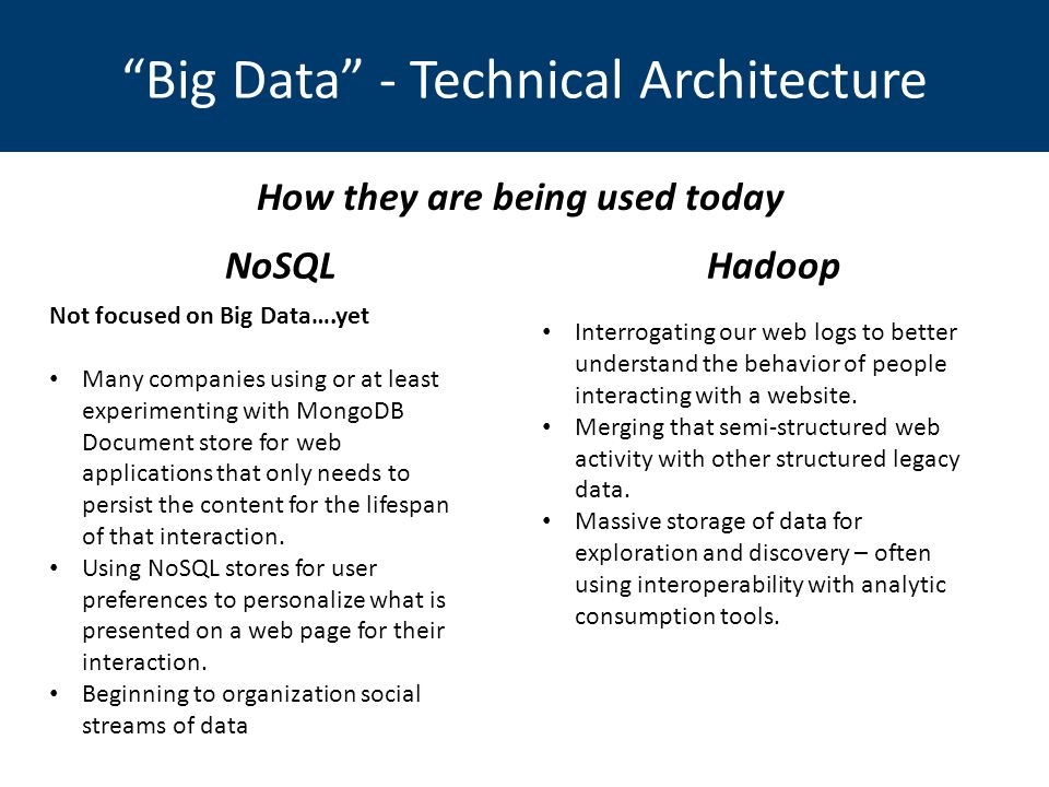 Big Data - Technical Architecture NoSQLHadoop Not focused on Big Data….yet Many companies using or at least experimenting with MongoDB Document store for web applications that only needs to persist the content for the lifespan of that interaction.