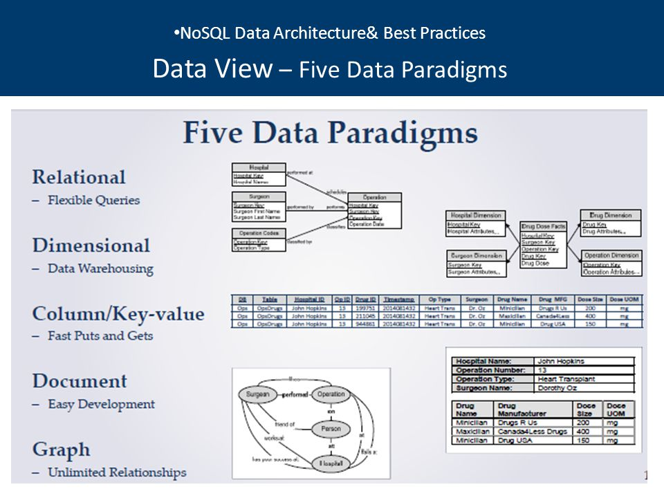 NoSQL Data Architecture& Best Practices Data View NoSQL Data Architecture& Best Practices Data View – Five Data Paradigms
