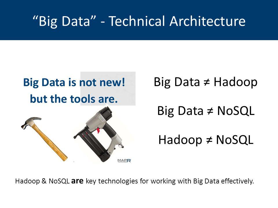 Big Data ≠ Hadoop Hadoop & NoSQL are key technologies for working with Big Data effectively.