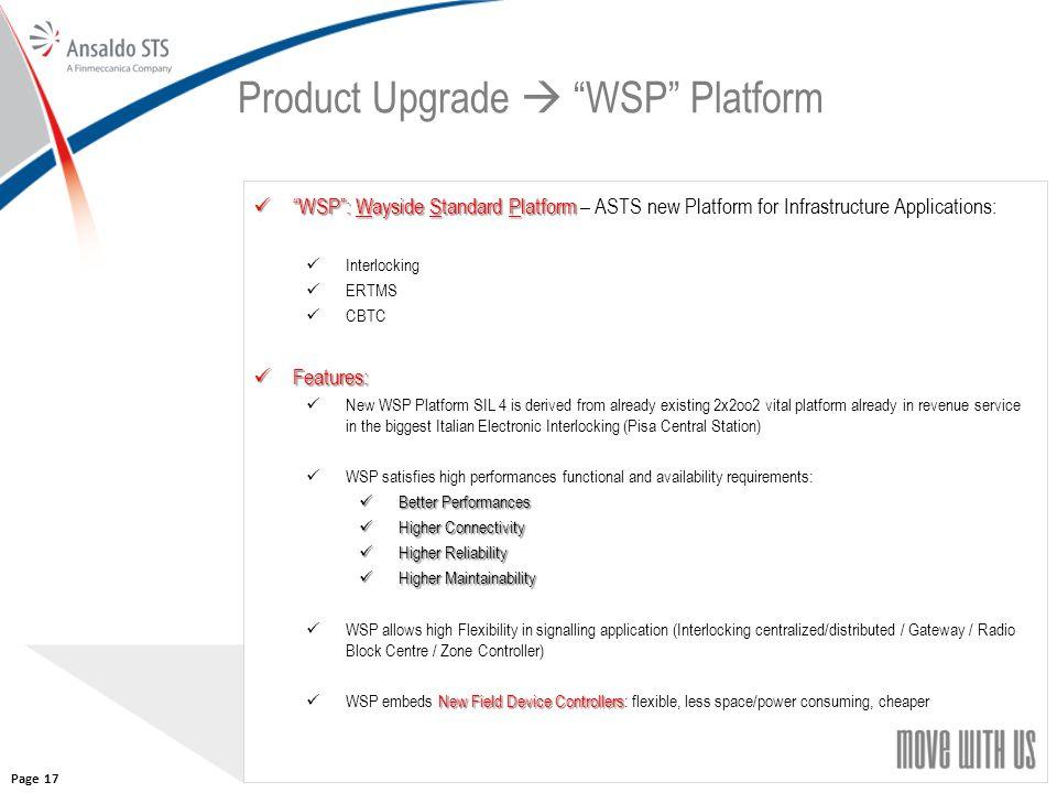 "17 Product Upgrade  ""WSP"" Platform ""WSP"": Wayside Standard Platform ""WSP"": Wayside Standard Platform – ASTS new Platform for Infrastructure Applicati"