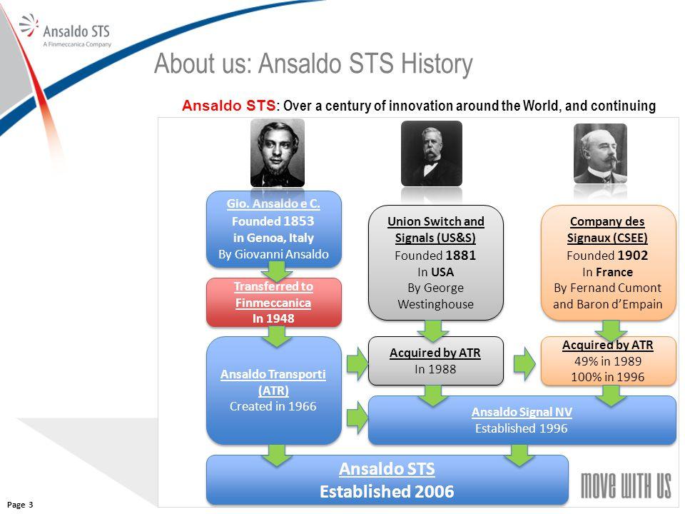 33 About us: Ansaldo STS History Gio. Ansaldo e C. Founded 1853 in Genoa, Italy By Giovanni Ansaldo Gio. Ansaldo e C. Founded 1853 in Genoa, Italy By