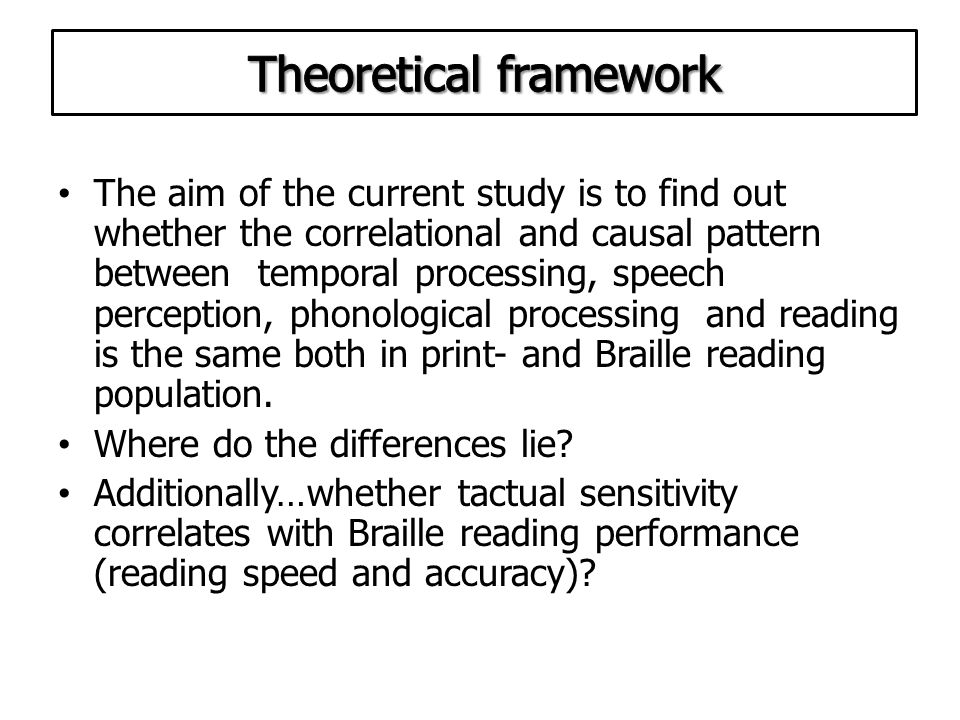 The aim of the current study is to find out whether the correlational and causal pattern between temporal processing, speech perception, phonological processing and reading is the same both in print- and Braille reading population.