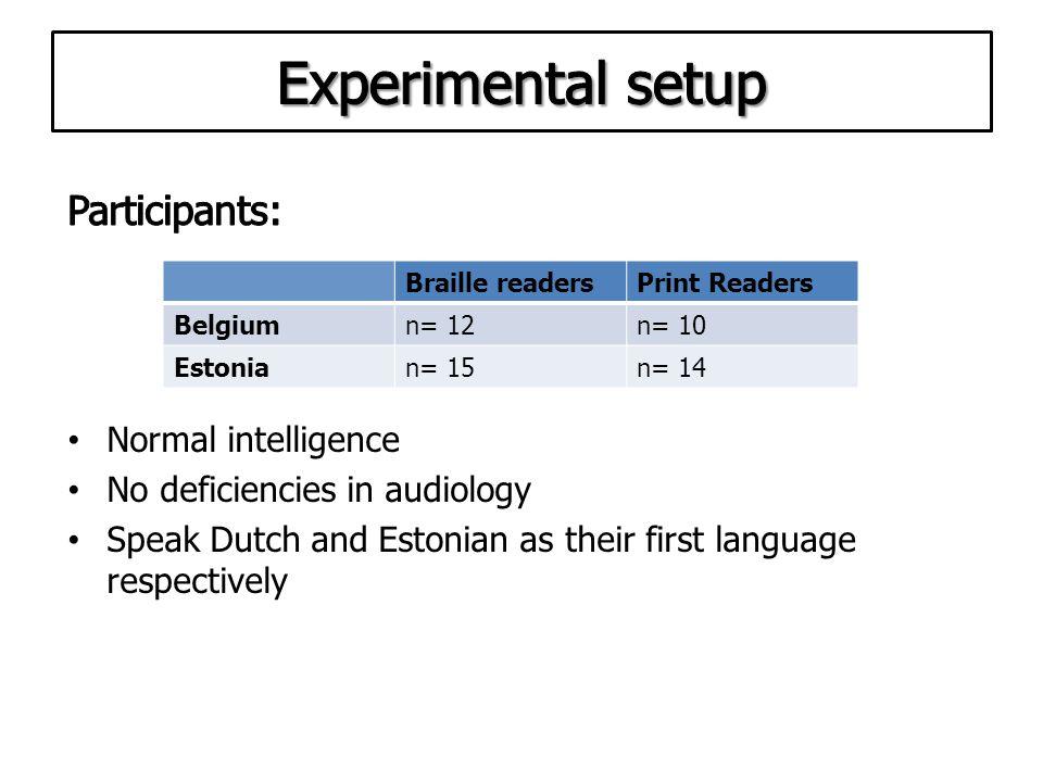 Braille readersPrint Readers Belgiumn= 12n= 10 Estonian= 15n= 14