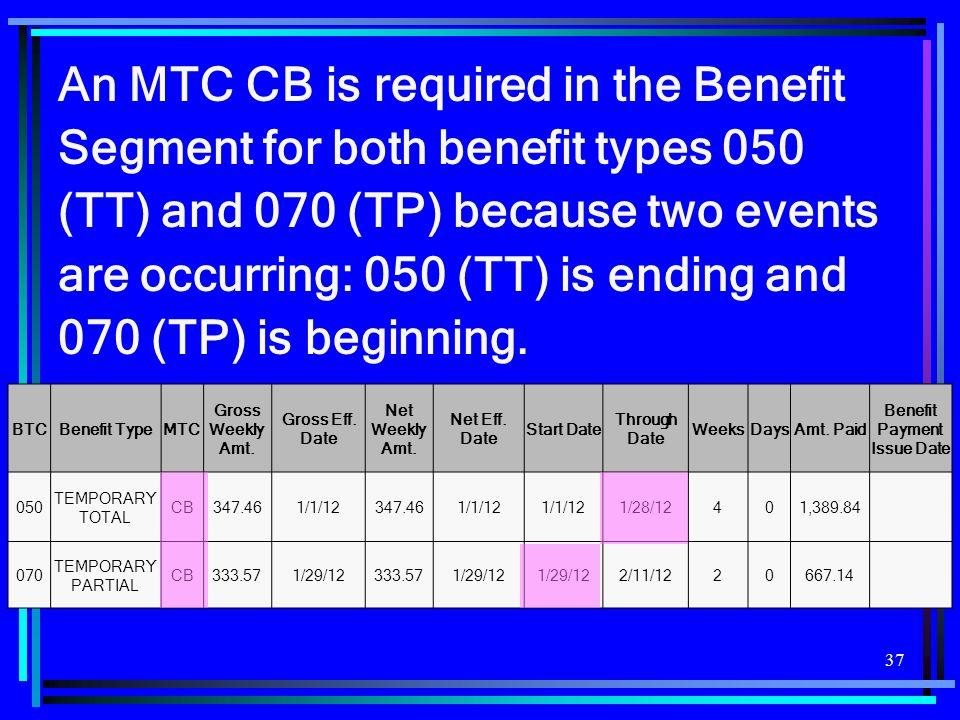 37 BTCBenefit TypeMTC Gross Weekly Amt. Gross Eff.