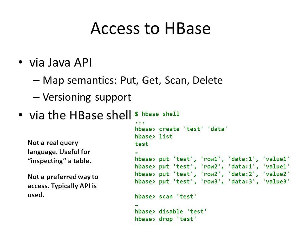 Access to HBase via Java API – Map semantics: Put, Get, Scan, Delete – Versioning support via the HBase shell $ hbase shell...
