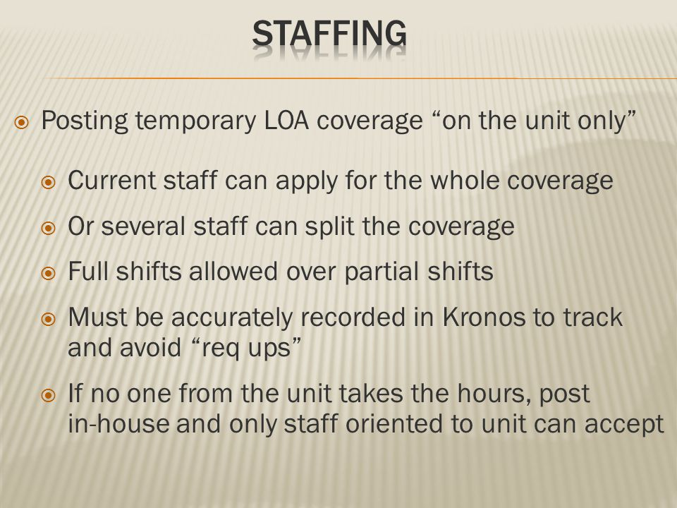" Posting temporary LOA coverage ""on the unit only""  Current staff can apply for the whole coverage  Or several staff can split the coverage  Full"