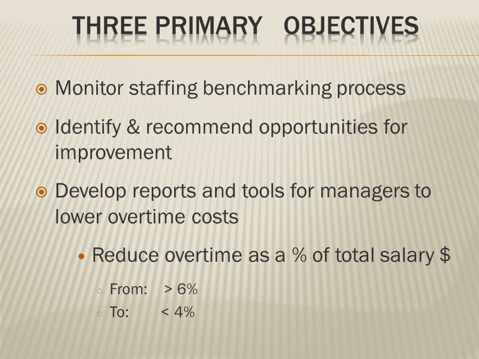  Monitor staffing benchmarking process  Identify & recommend opportunities for improvement  Develop reports and tools for managers to lower overtim