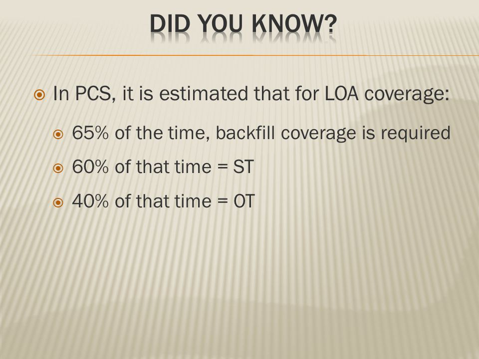  In PCS, it is estimated that for LOA coverage:  65% of the time, backfill coverage is required  60% of that time = ST  40% of that time = OT