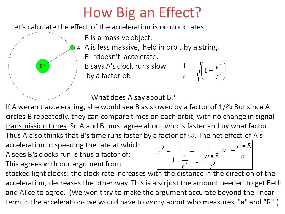 How Big an Effect? Let's calculate the effect of the acceleration is on clock rates: B is a massive object, A is less massive, held in orbit by a stri