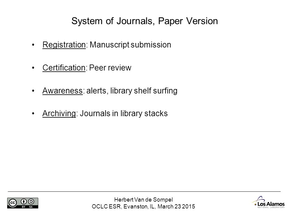 Herbert Van de Sompel OCLC ESR, Evanston, IL, March 23 2015 Web-Based Journal System – Links to Articles Peter Burnhill (2014) Ensuring access to digital back copy http://www.cni.org/topics/digital-preservation/ensuring-access-to-digital-back-copy/