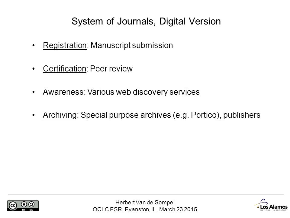 Herbert Van de Sompel OCLC ESR, Evanston, IL, March 23 2015 Certification – slideshare http://www.slideshare.net/hvdsomp/presentations