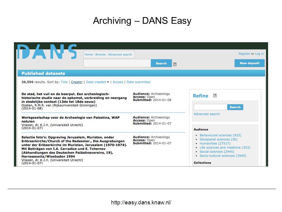 Herbert Van de Sompel OCLC ESR, Evanston, IL, March 23 2015 Archiving – DANS Easy http://easy.dans.knaw.nl/