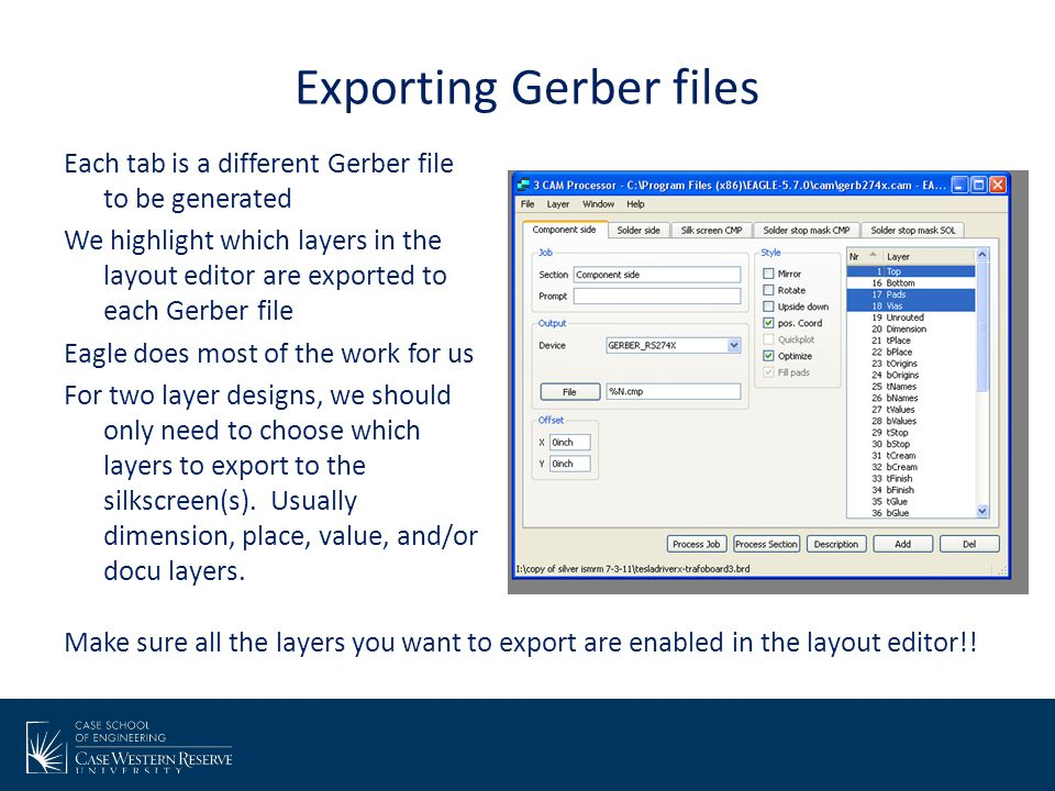 Exporting Gerber files Each tab is a different Gerber file to be generated We highlight which layers in the layout editor are exported to each Gerber