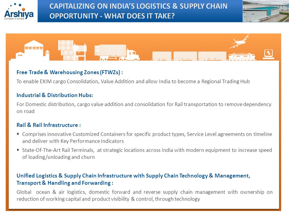 By 2030 India is poised to overtake Japan, to be world s 3rd largest economy By 2025 India will have a middle class population of 583 million and will become worlds fifth largest consumer market India currently carries approximately 3 billion MT of cargo; which is expected to grow to approximately 6 billion MT by 2020 (@ CAGR of 7%) By 2020, India is projected to have an additional 47 million workers, almost equal to the total world shortfall with an average Indian age of 29.