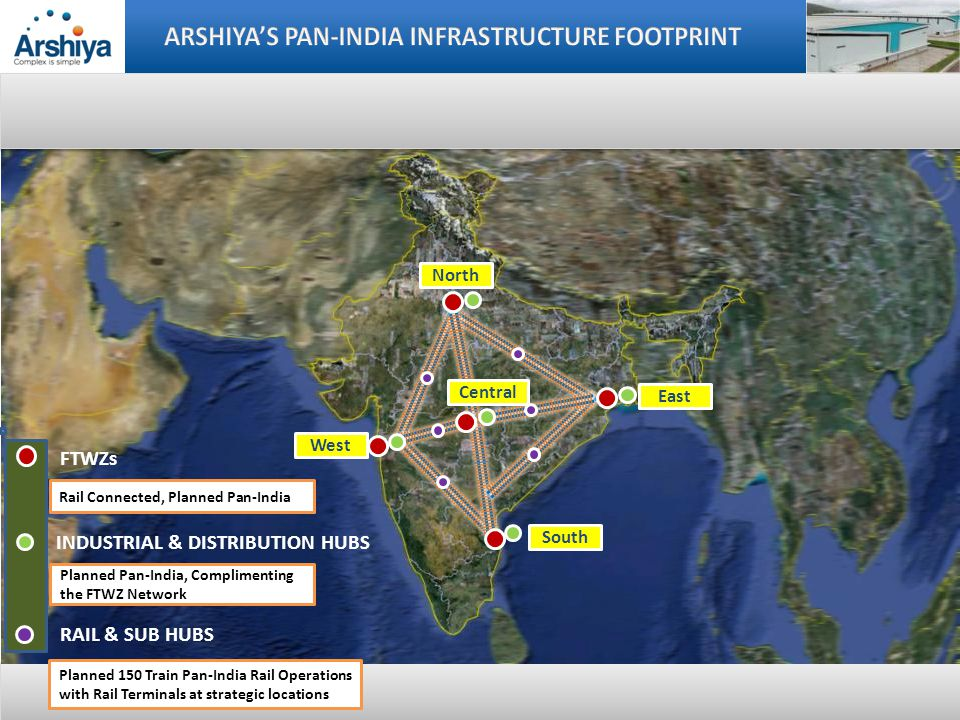 10-year lineage, 150+ country freight forwarding network, servicing over 1,500 customers 5-year lineage in Supply & Demand Chain legacy servicing leading retail & other brands across India Proprietary IT – Arshiya Technology, that provides customized software solutions across the value chain Year 2011 Year 2012