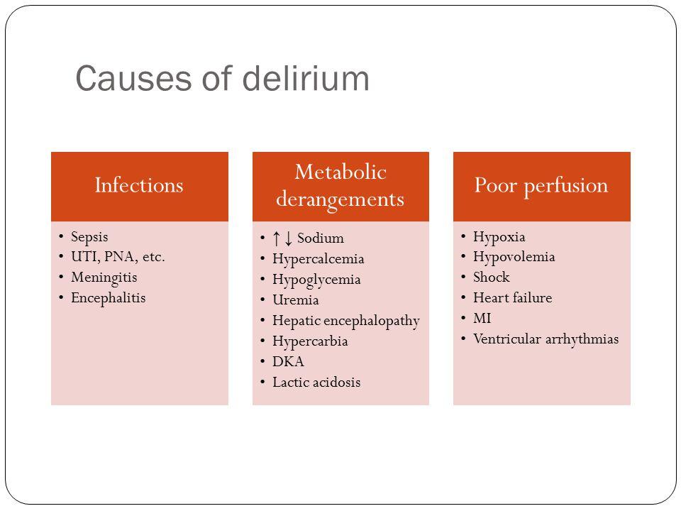 Causes of delirium Infections Sepsis UTI, PNA, etc.