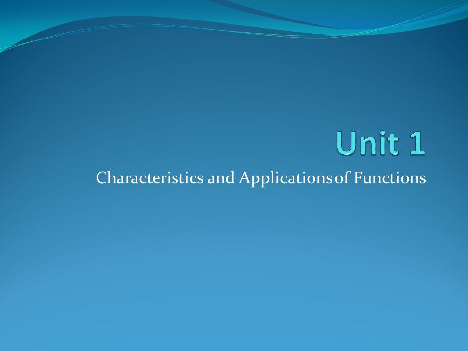 Characteristics and Applications of Functions