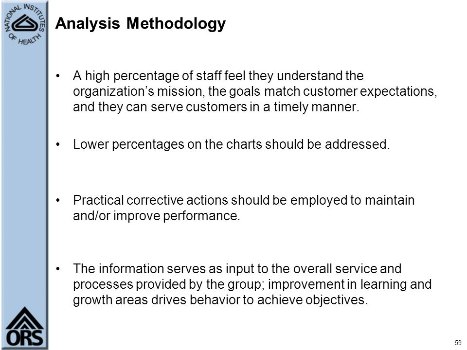 Analysis Methodology A high percentage of staff feel they understand the organization's mission, the goals match customer expectations, and they can s