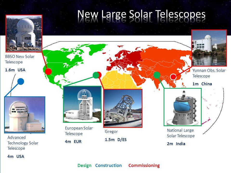 13 Advanced Technology Solar Telescope 4m USA BBSO New Solar Telescope 1.6m USA Design Construction Commissioning Yunnan Obs. Solar Telescope 1m China