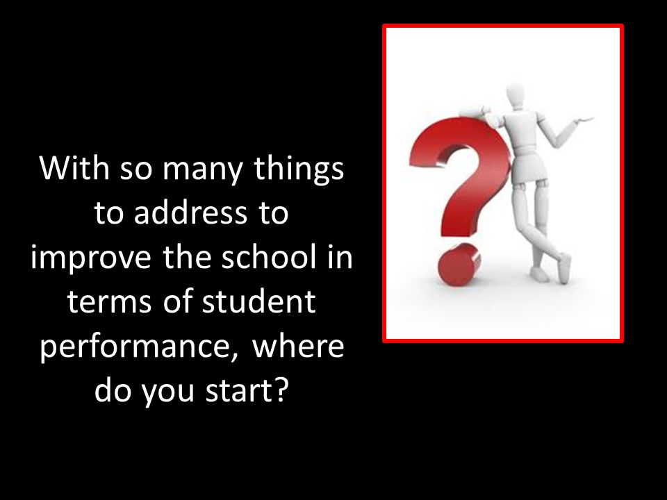 With so many things to address to improve the school in terms of student performance, where do you start?